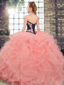 Sleeveless Sweep Train Lace Up Embroidery and Ruffles Quince Ball Gowns