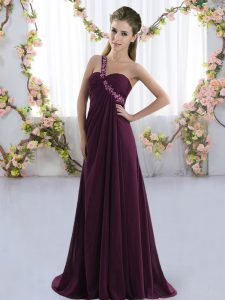 High Class Dark Purple Empire One Shoulder Sleeveless Chiffon Brush Train Lace Up Beading Court Dresses for Sweet 16