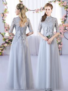 Great Grey High-neck Lace Up Lace Vestidos de Damas Half Sleeves