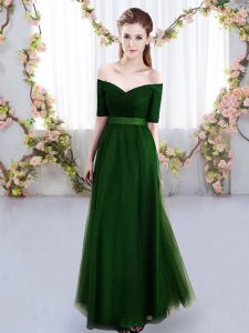 Decent Short Sleeves Floor Length Ruching Lace Up Quinceanera Court of Honor Dress with Green