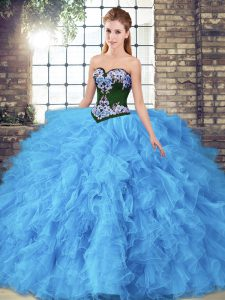 Sophisticated Sweetheart Sleeveless Tulle Ball Gown Prom Dress Beading and Embroidery Lace Up
