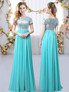 Unique Floor Length Aqua Blue Damas Dress Scoop Short Sleeves Zipper