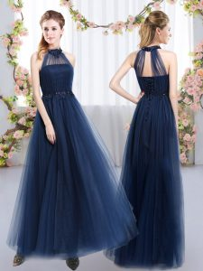 Tulle High-neck Sleeveless Lace Up Appliques Dama Dress in Navy Blue