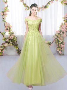Dramatic Empire Dama Dress for Quinceanera Yellow Green Off The Shoulder Tulle Sleeveless Floor Length Lace Up