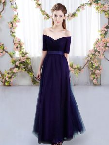 Great Short Sleeves Lace Up Floor Length Ruching Dama Dress