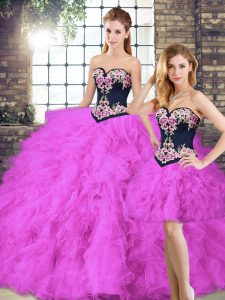 Beading and Embroidery Vestidos de Quinceanera Fuchsia Lace Up Sleeveless Floor Length