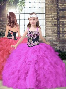 Straps Sleeveless Tulle Child Pageant Dress Embroidery and Ruffles Lace Up