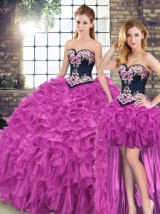 Sweetheart Sleeveless Sweep Train Lace Up 15 Quinceanera Dress Fuchsia Organza