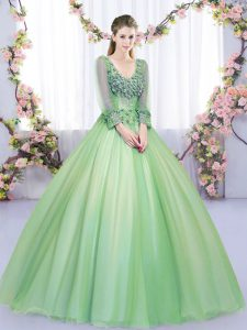 Tulle V-neck Long Sleeves Lace Up Lace and Appliques Sweet 16 Quinceanera Dress in Green