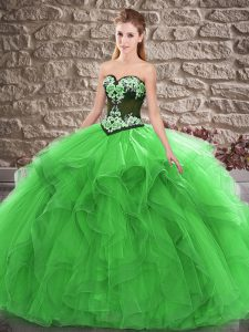 Beading and Embroidery Quinceanera Dresses Green Lace Up Sleeveless Floor Length