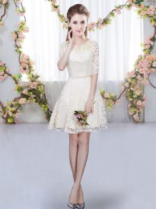 Wonderful Champagne Half Sleeves Mini Length Belt Zipper Damas Dress