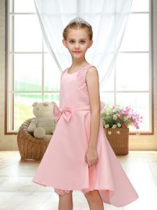 Pink Sleeveless Satin Zipper Flower Girl Dress for Wedding Party