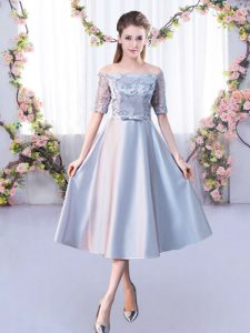 Silver Lace Up Quinceanera Court of Honor Dress Lace Half Sleeves Tea Length