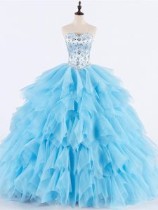 Adorable Beading and Ruffles Sweet 16 Dress Baby Blue Lace Up Sleeveless Floor Length