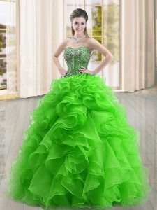 Ball Gowns Sweet 16 Dress Green Sweetheart Organza Sleeveless Floor Length Lace Up
