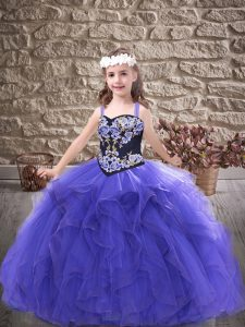 Fancy Purple Tulle Lace Up Little Girls Pageant Dress Sleeveless Floor Length Embroidery and Ruffles