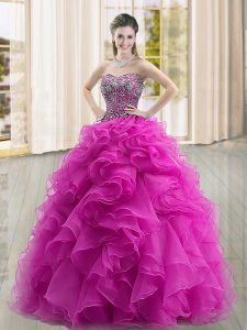 Fitting Fuchsia Ball Gowns Sweetheart Sleeveless Organza Floor Length Lace Up Beading and Ruffles Ball Gown Prom Dress