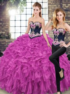 Fuchsia Sweetheart Neckline Embroidery and Ruffles Vestidos de Quinceanera Sleeveless Lace Up