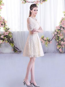 Fabulous Short Sleeves Mini Length Lace Lace Up Vestidos de Damas with Champagne