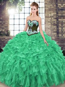 Simple Sleeveless Embroidery and Ruffles Lace Up Ball Gown Prom Dress with Green Sweep Train