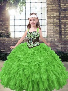 Ball Gowns Organza Straps Sleeveless Embroidery and Ruffles Floor Length Lace Up Little Girls Pageant Dress