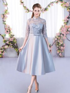 High Quality Silver A-line High-neck Half Sleeves Satin Tea Length Lace Up Lace Dama Dress