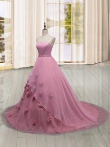Pink Sleeveless Brush Train Hand Made Flower Quinceanera Gowns