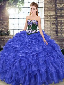 Glamorous Lace Up Vestidos de Quinceanera Royal Blue for Military Ball and Sweet 16 and Quinceanera with Embroidery and Ruffles Sweep Train