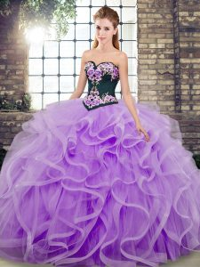 Lavender Lace Up Quinceanera Dress Embroidery and Ruffles Sleeveless Sweep Train