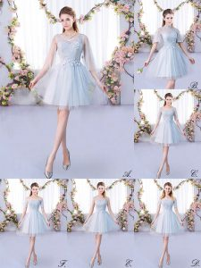 Grey Scoop Lace Up Lace Quinceanera Court Dresses 3 4 Length Sleeve