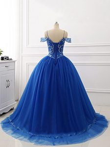 Luxury Ball Gowns Sleeveless Royal Blue 15th Birthday Dress Brush Train Lace Up