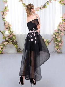 Exquisite Black Short Sleeves Appliques High Low Quinceanera Court Dresses