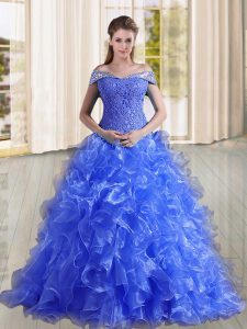 Sweep Train A-line Ball Gown Prom Dress Blue Off The Shoulder Organza Sleeveless Lace Up
