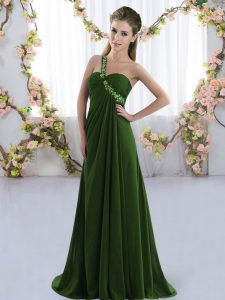 Olive Green Sleeveless Chiffon Brush Train Lace Up Court Dresses for Sweet 16 for Prom and Party and Wedding Party