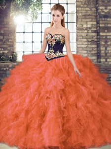 High Quality Beading and Embroidery 15 Quinceanera Dress Orange Red Lace Up Sleeveless Floor Length