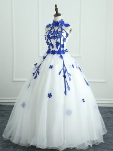 Sleeveless Zipper Floor Length Appliques Sweet 16 Dresses