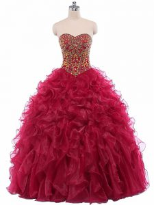 Artistic Sleeveless Beading and Ruffles Lace Up 15th Birthday Dress