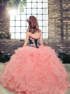 Latest Lavender Ball Gowns Embroidery and Ruffles Little Girl Pageant Gowns Lace Up Tulle Sleeveless Floor Length