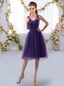 Enchanting Purple Court Dresses for Sweet 16 Prom and Party with Appliques V-neck Sleeveless Zipper