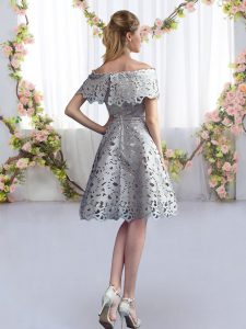 Fantastic Short Sleeves Knee Length Quinceanera Court of Honor Dress and Lace