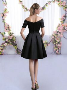 Perfect Black Dama Dress for Quinceanera Prom and Party and Wedding Party with Ruching Off The Shoulder Short Sleeves Zipper