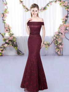 Burgundy Mermaid Lace Dama Dress Lace Up Sleeveless Floor Length