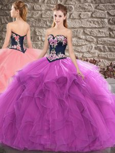 Sleeveless Floor Length Beading and Embroidery Lace Up Ball Gown Prom Dress with Purple
