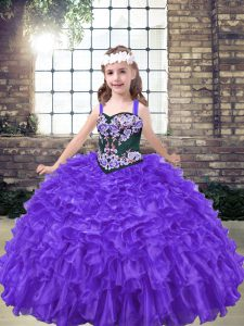 Purple Ball Gowns Embroidery Kids Formal Wear Lace Up Organza Sleeveless Floor Length