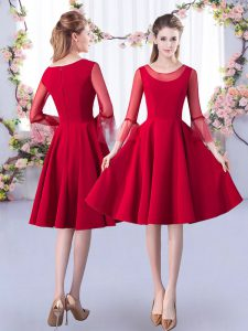 Fantastic Knee Length A-line 3 4 Length Sleeve Red Vestidos de Damas Zipper