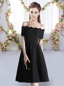 Shining Black A-line Ruching Quinceanera Court Dresses Zipper Satin Short Sleeves Knee Length