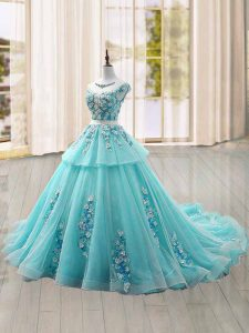 Sophisticated Cap Sleeves Brush Train Appliques Lace Up 15 Quinceanera Dress