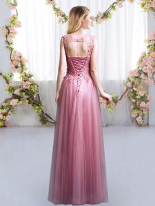 Pink Sleeveless Tulle Lace Up Quinceanera Dama Dress for Prom and Party and Wedding Party