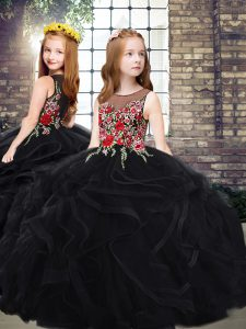 Tulle Sleeveless Little Girl Pageant Dress Sweep Train and Embroidery and Ruffles