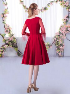 Red A-line Scoop 3 4 Length Sleeve Satin Knee Length Zipper Ruching Court Dresses for Sweet 16